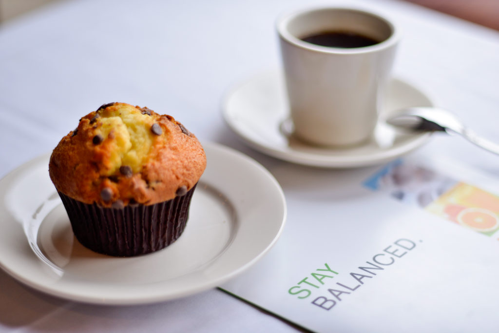 Holiday Inn New York JFK Airport Area coffee, muffin, and menu
