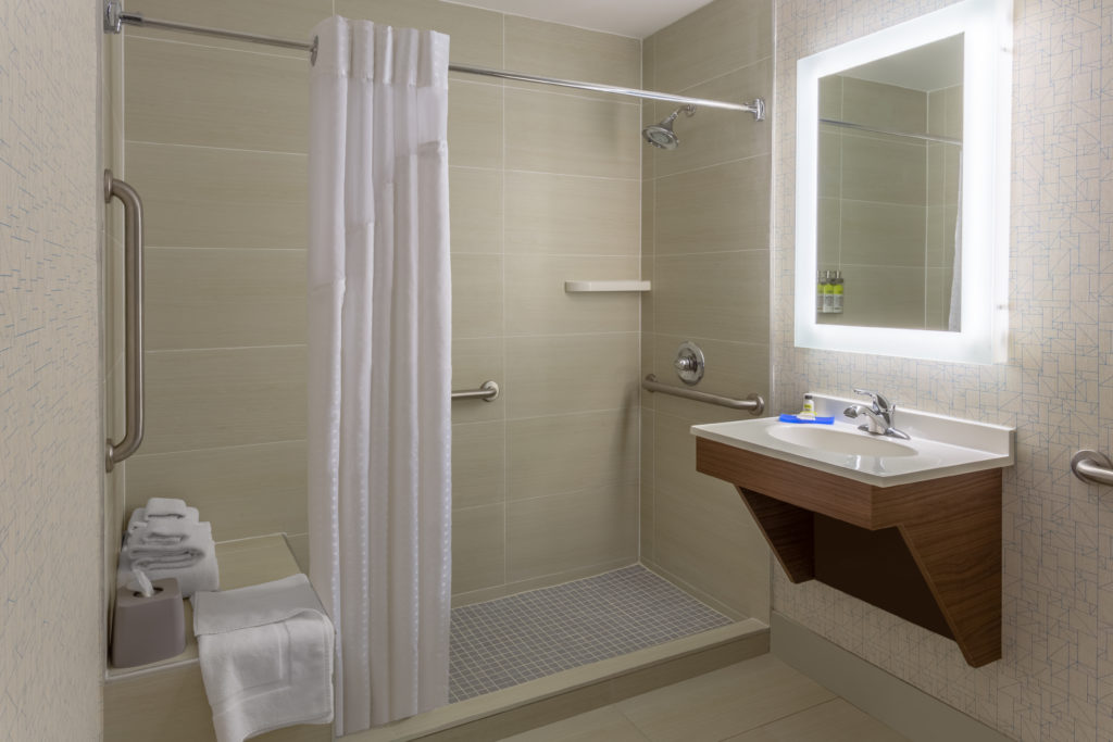 Holiday Inn Express LaGuardia Airport ADA bathroom with shower