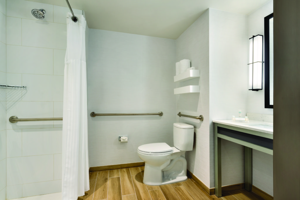 Hilton Garden Inn New York Times Square South accessible bathroom with roll-in shower